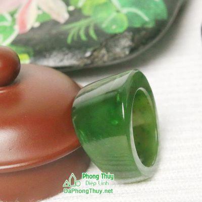 Nhẫn đá ngọc bích nephrite jade 15-18.7